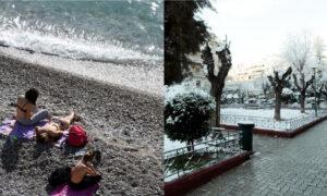 """Τρελάθηκε ο καιρός: Από τις παραλίες στα... χιόνια - """"Βουτιά"""" 17 βαθμών η θερμοκρασία στην Κρήτη"""