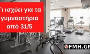 Αυτό είναι το Πρωτόκολλο επαναλειτουργίας των γυμναστηρίων από 31/5