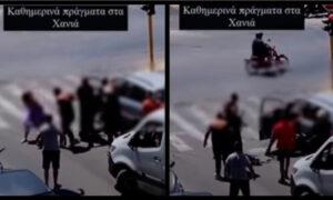 Άγριο ξύλο στην μέση του δρόμου στα Χανιά, ιερέας προσπαθούσε μάταια να τους ηρεμήσει (vid)
